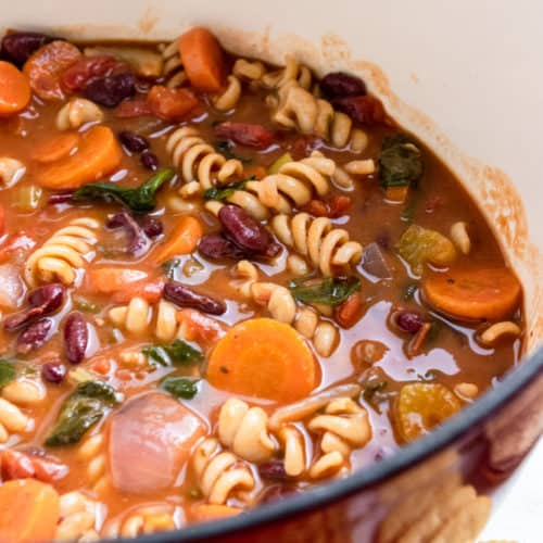 Pot of chunky Vegetable Soup.