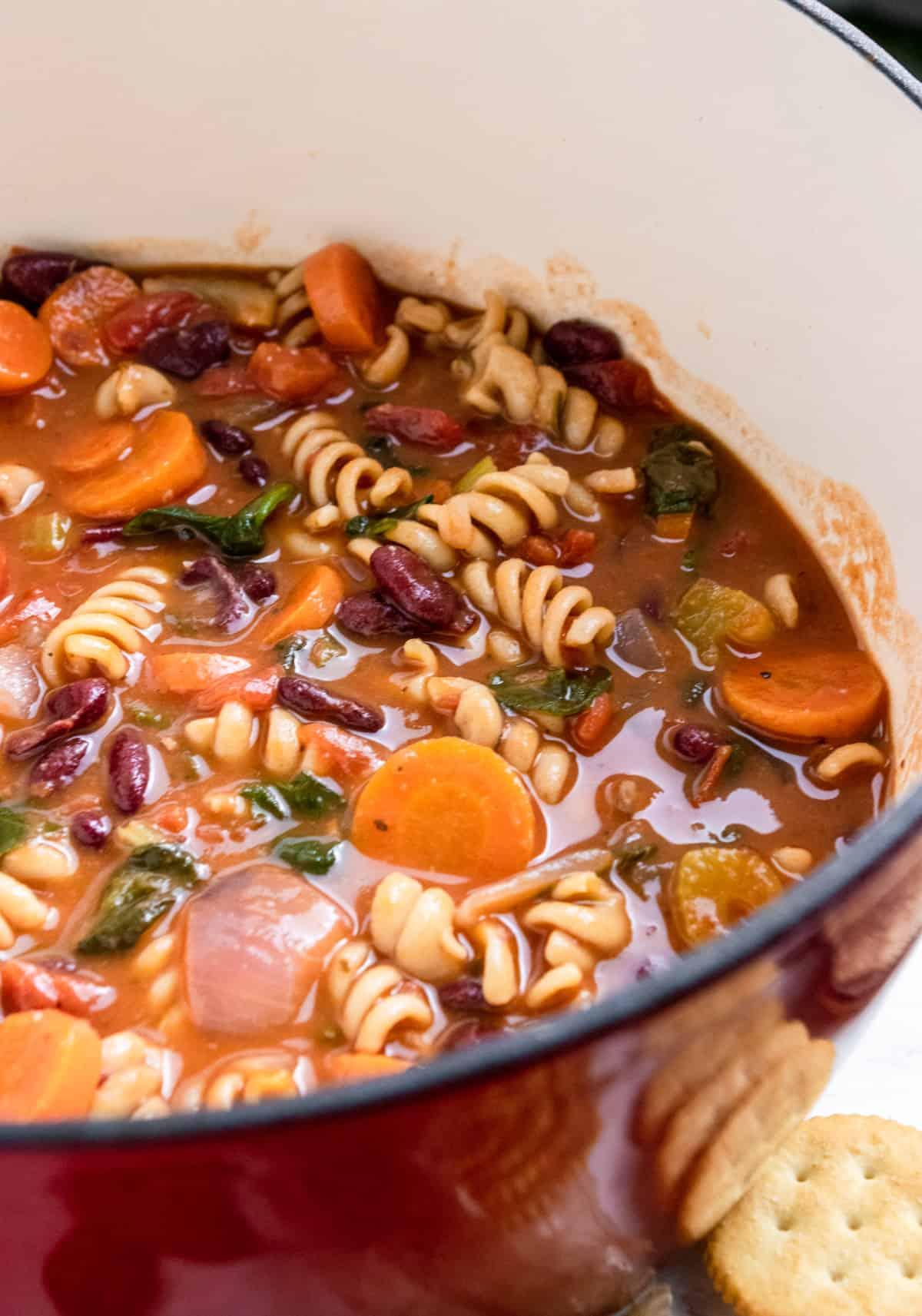 Pot of chunky Italian vegetable soup.