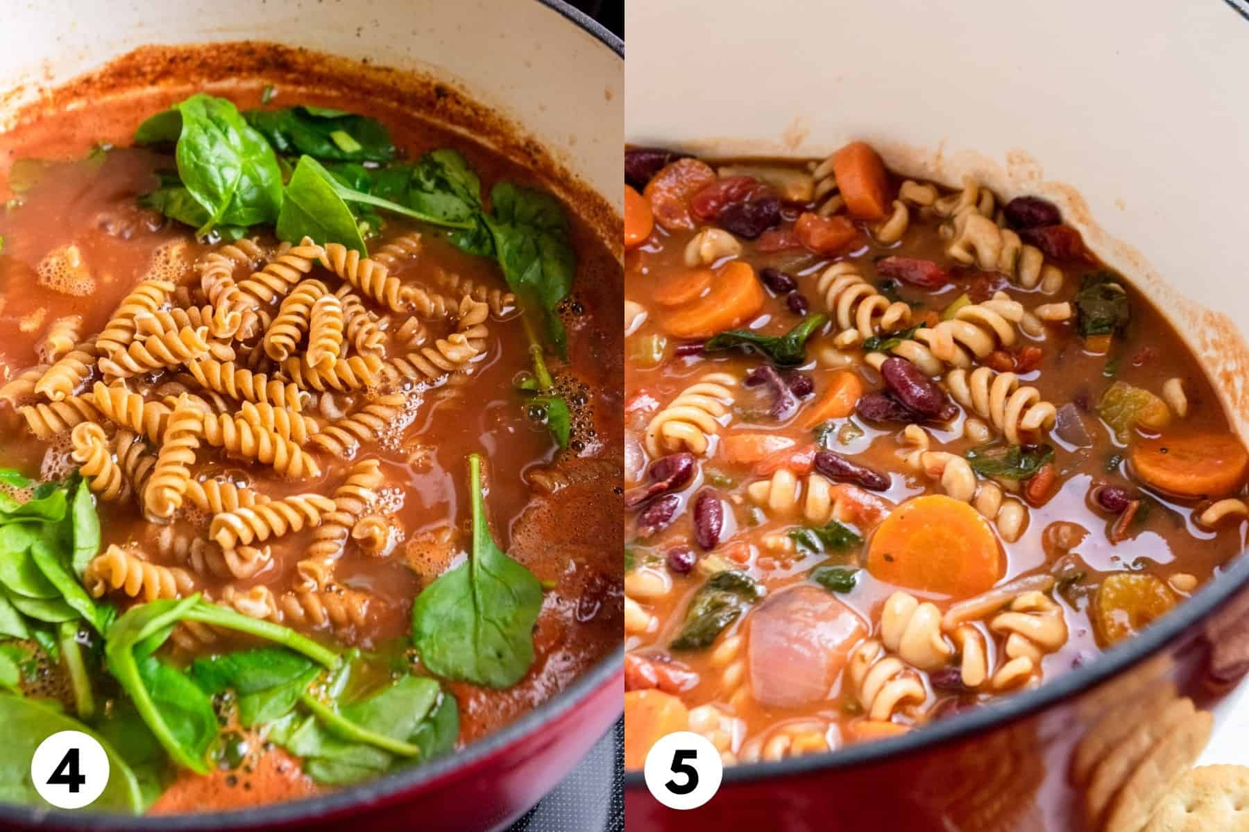 Pasta and spinach added to soup pot and then finished soup in pot.