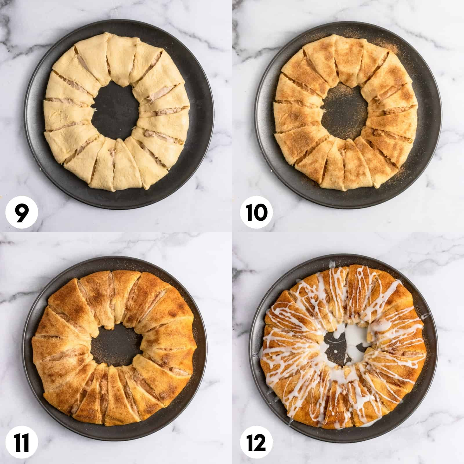 Crescent wreath before and after baked on pan.