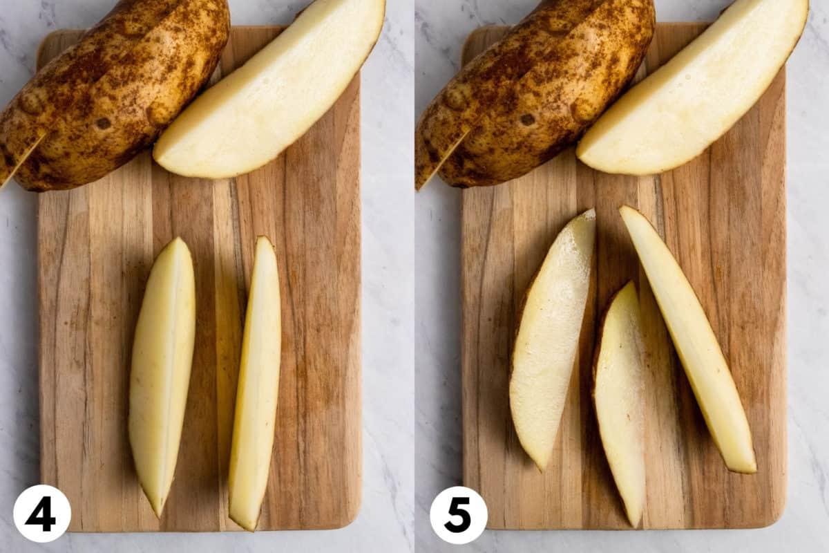 Potatoes on cutting board being cut.