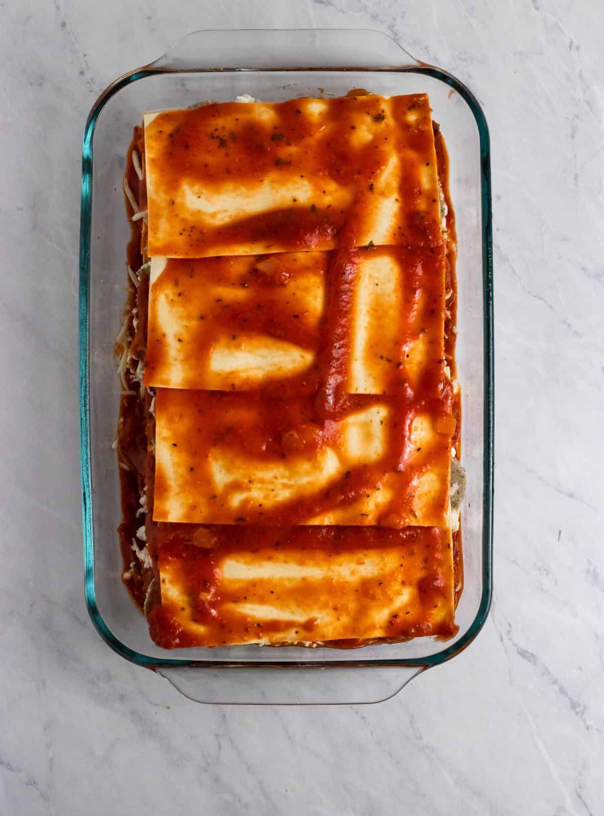Oven ready lasagna.