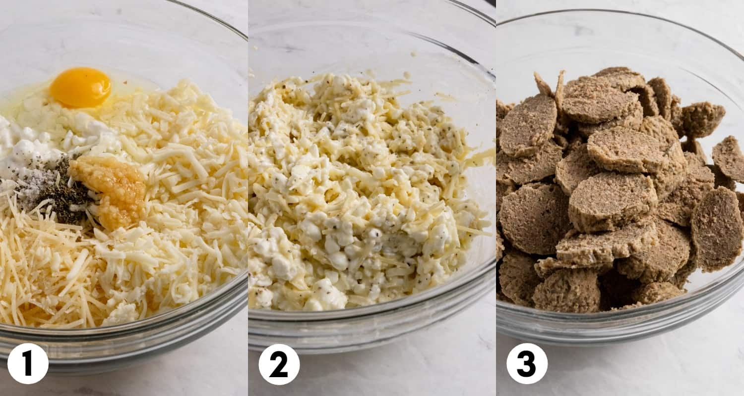 Cottage cheese, mozzarella, egg and meatballs in mixing bowl.