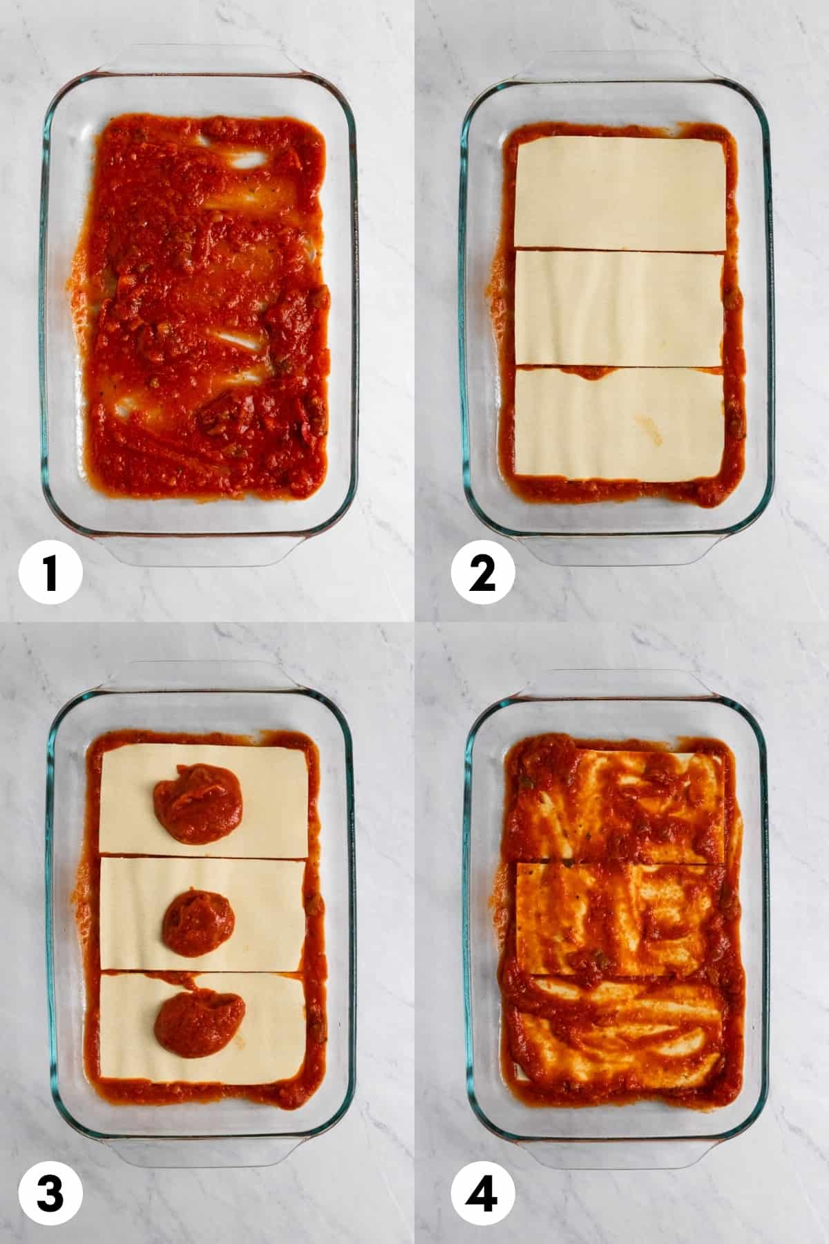 Lasagna layers added to pan.