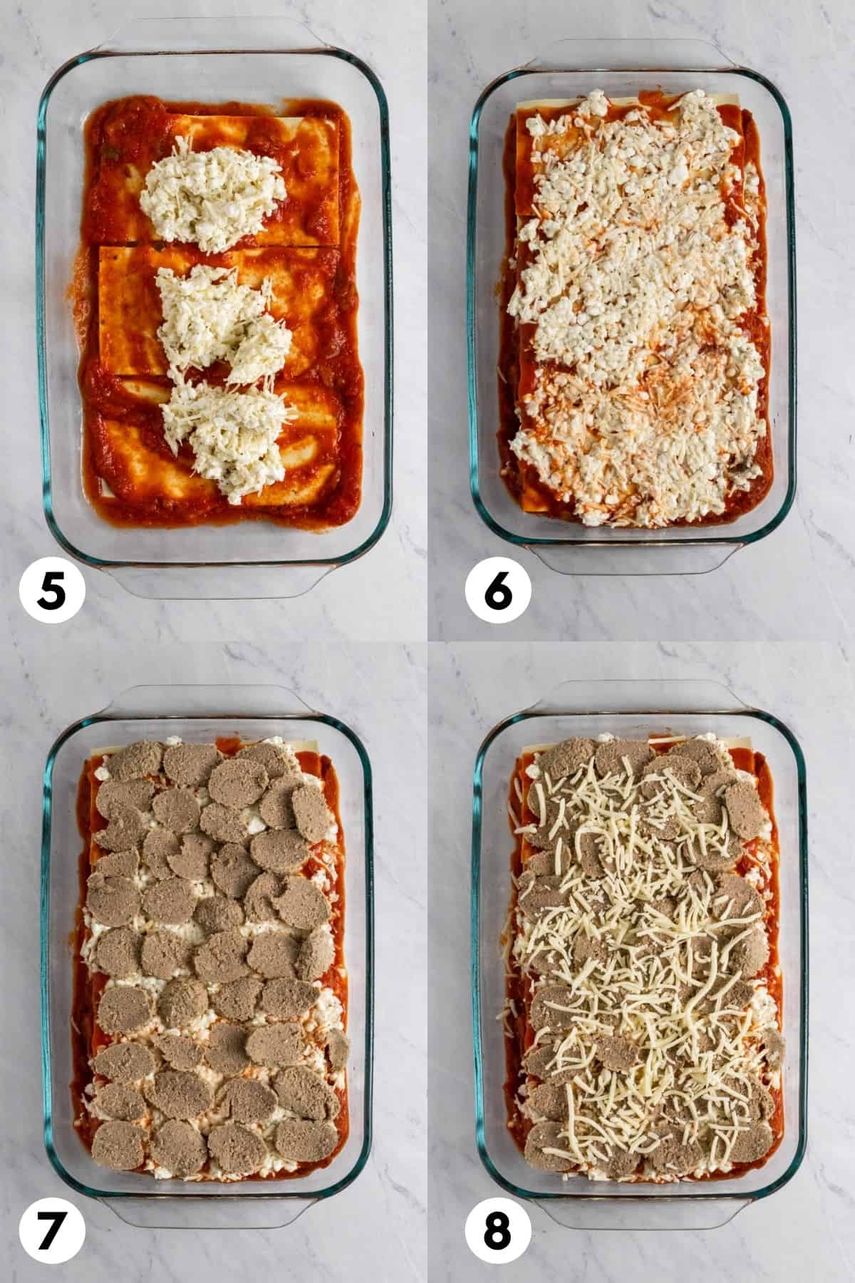 Sauce, meat and cheese layered in pan.