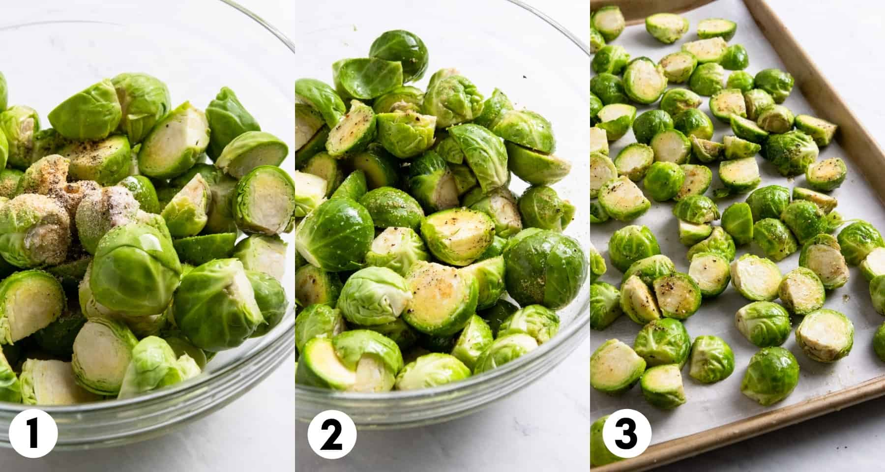 Brussels sprouts with seasoning in bowl and then on pan.