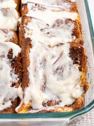 Baked French Toast in pan with icing.