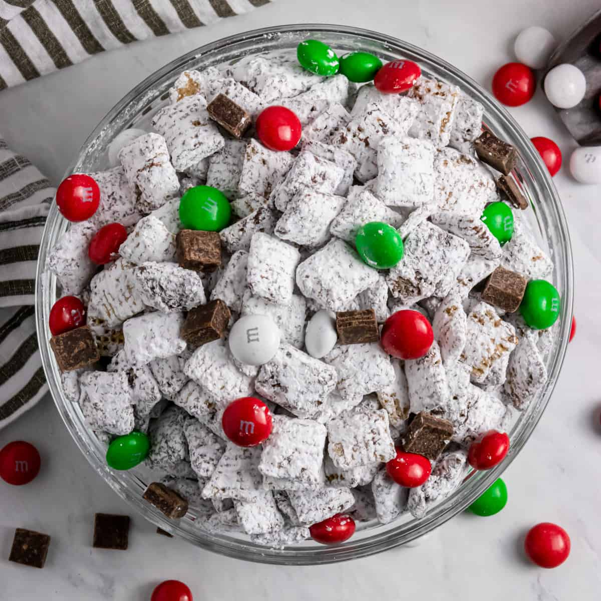 Dark Chocolate Peppermint Christmas Puppy Chow Lemons Zest