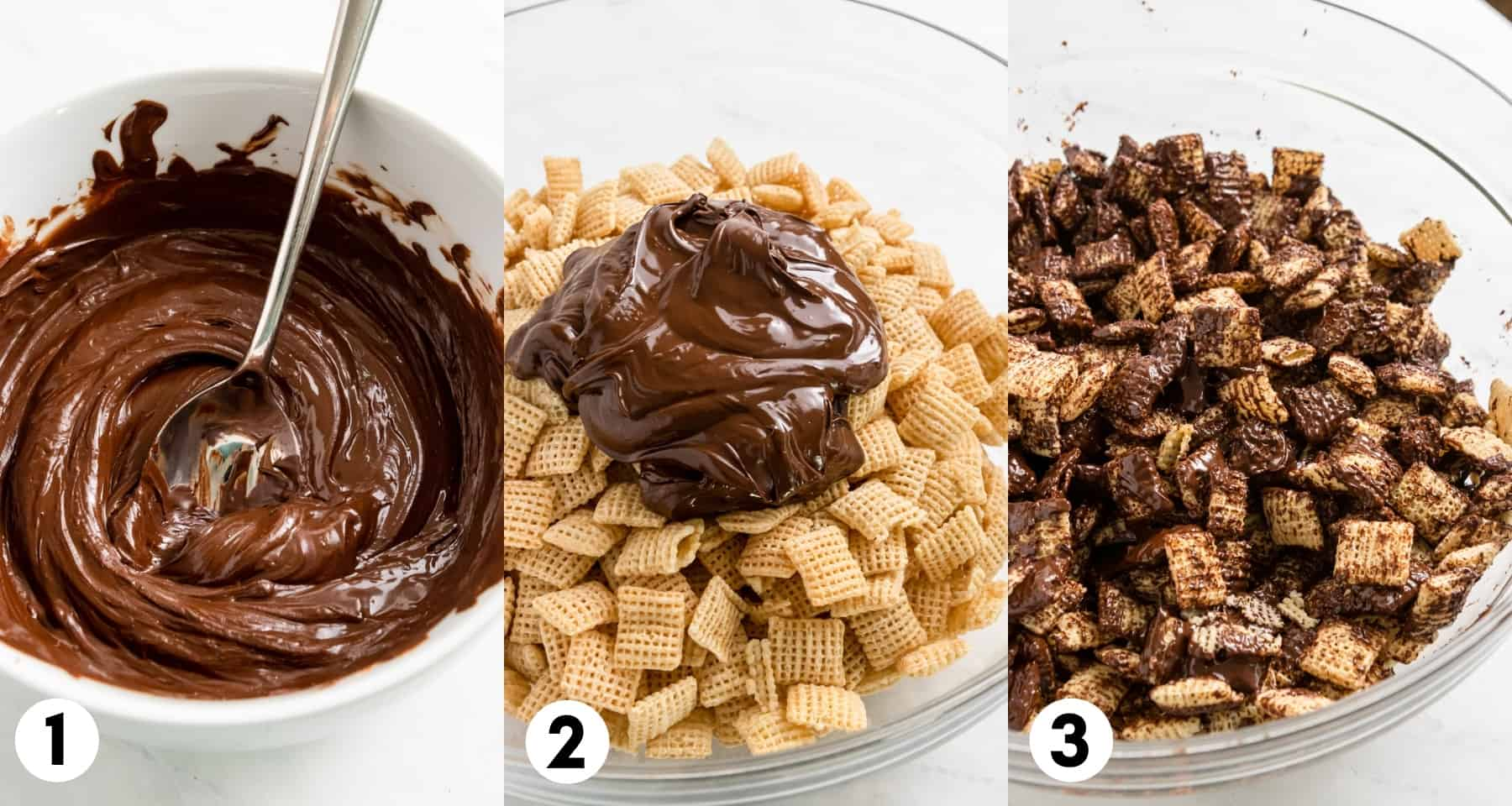 Melted chocolate, Chex in mixing bowl being mixed.