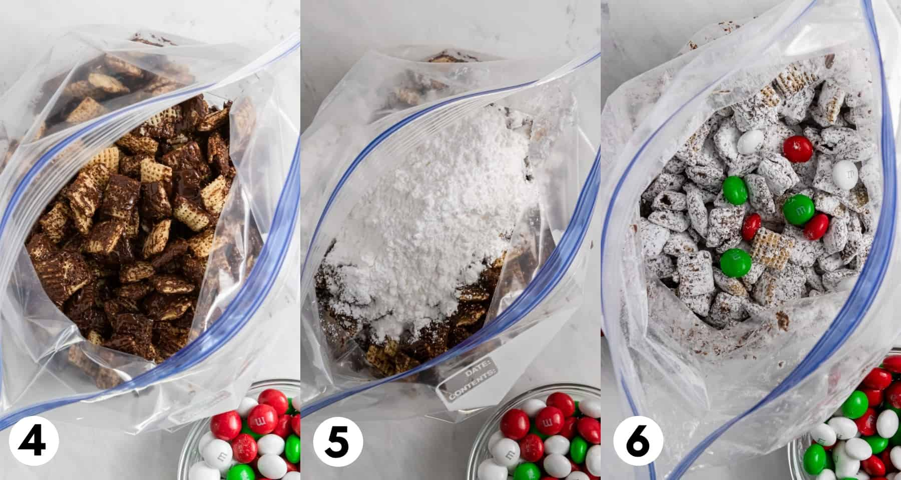 Christmas chex mix in plastic bag with powdered sugar.