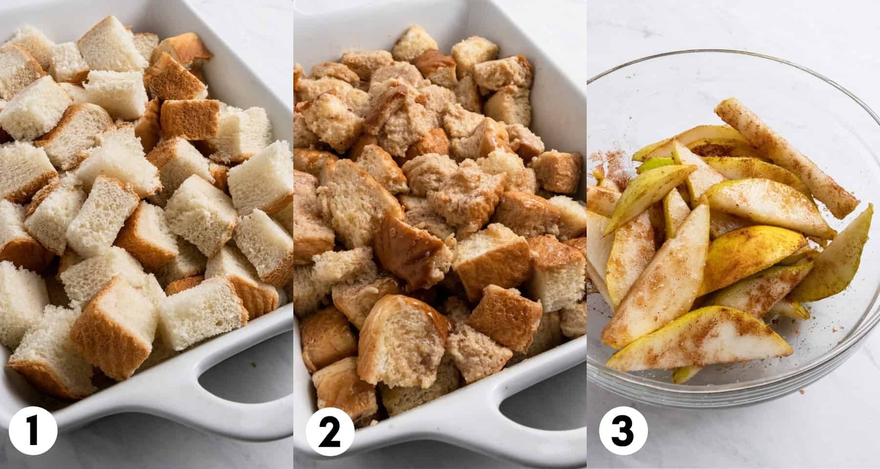 Pieces of bread in pan with spiced pears and french toast mixture.