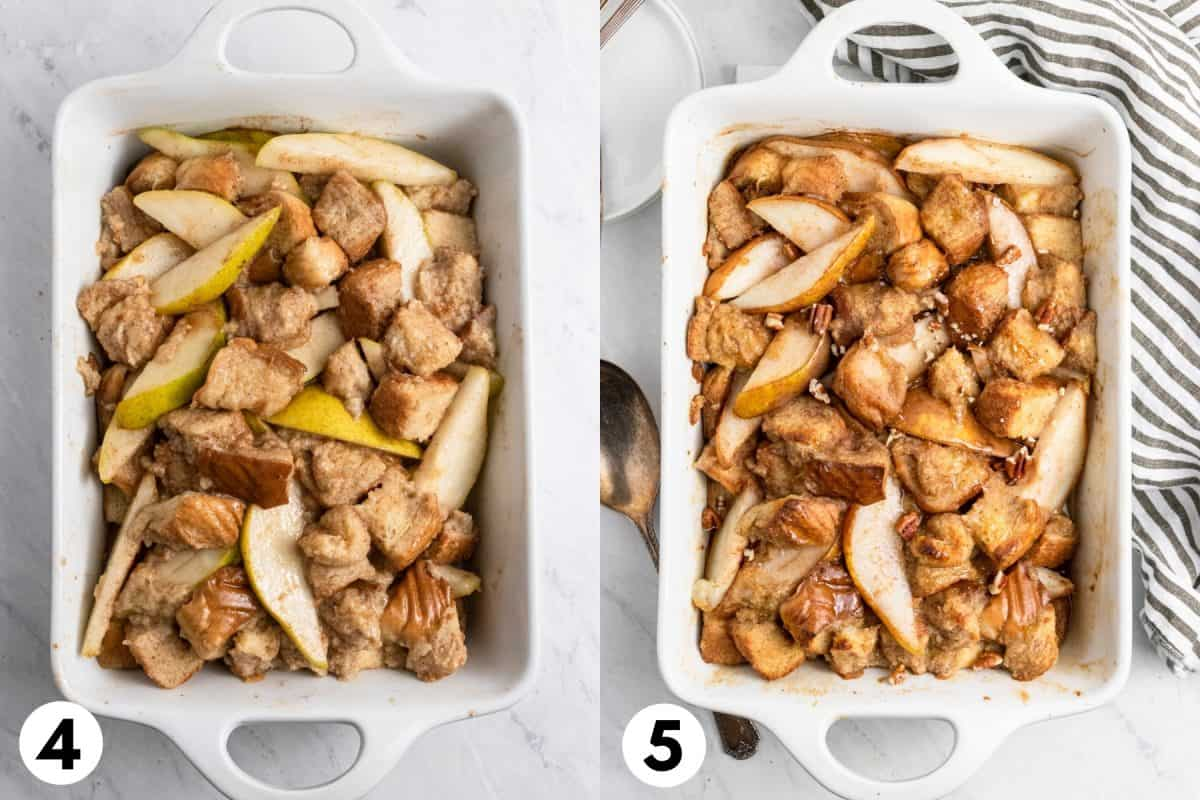 French toast bake in pan before and after cooked.