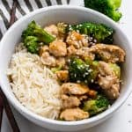Ground turkey stir fry with broccoli and sesame seeds.