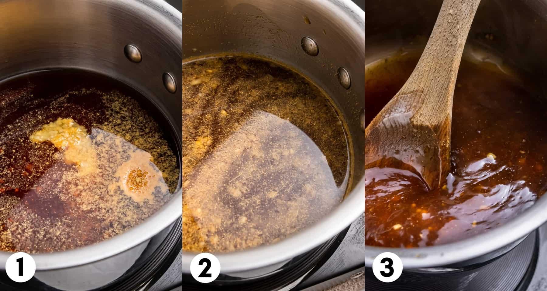 Teriyaki sauce in pan.