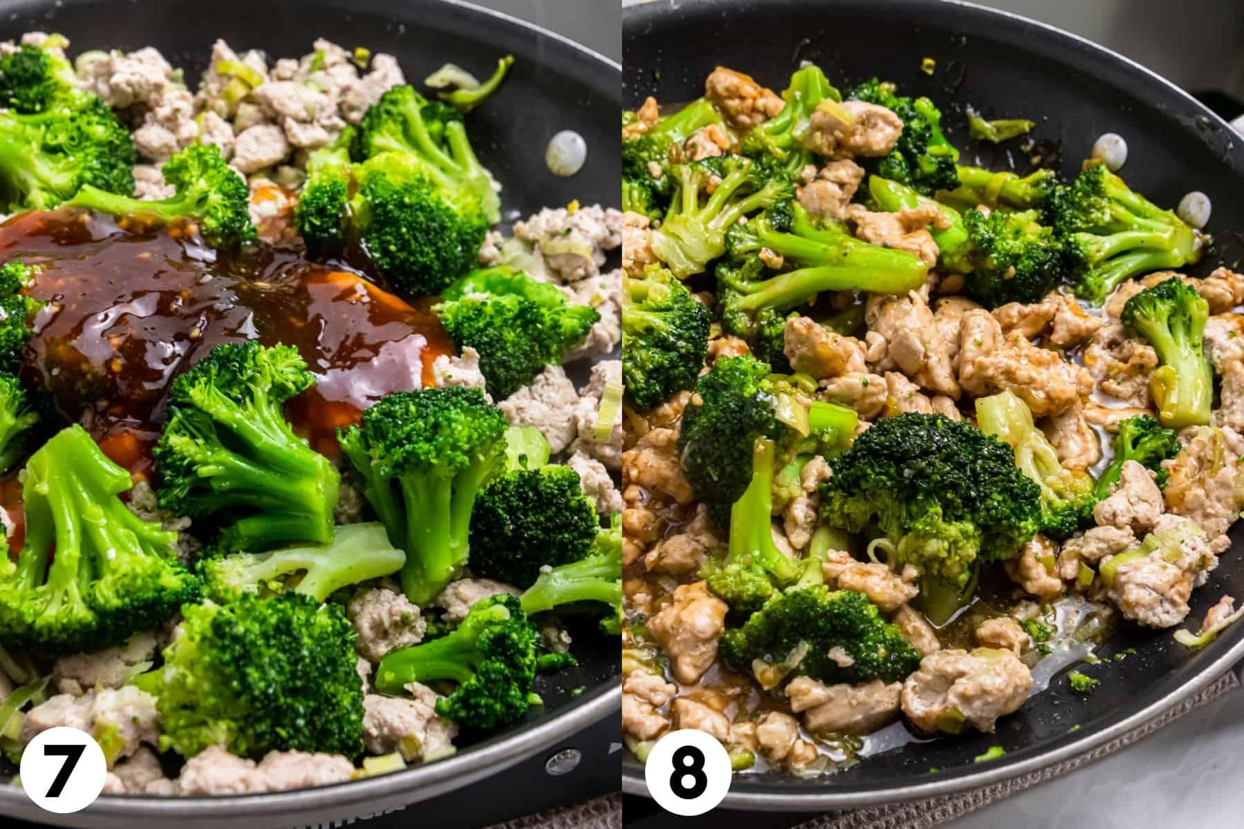 Broccoli and teriyaki sauce in pan.