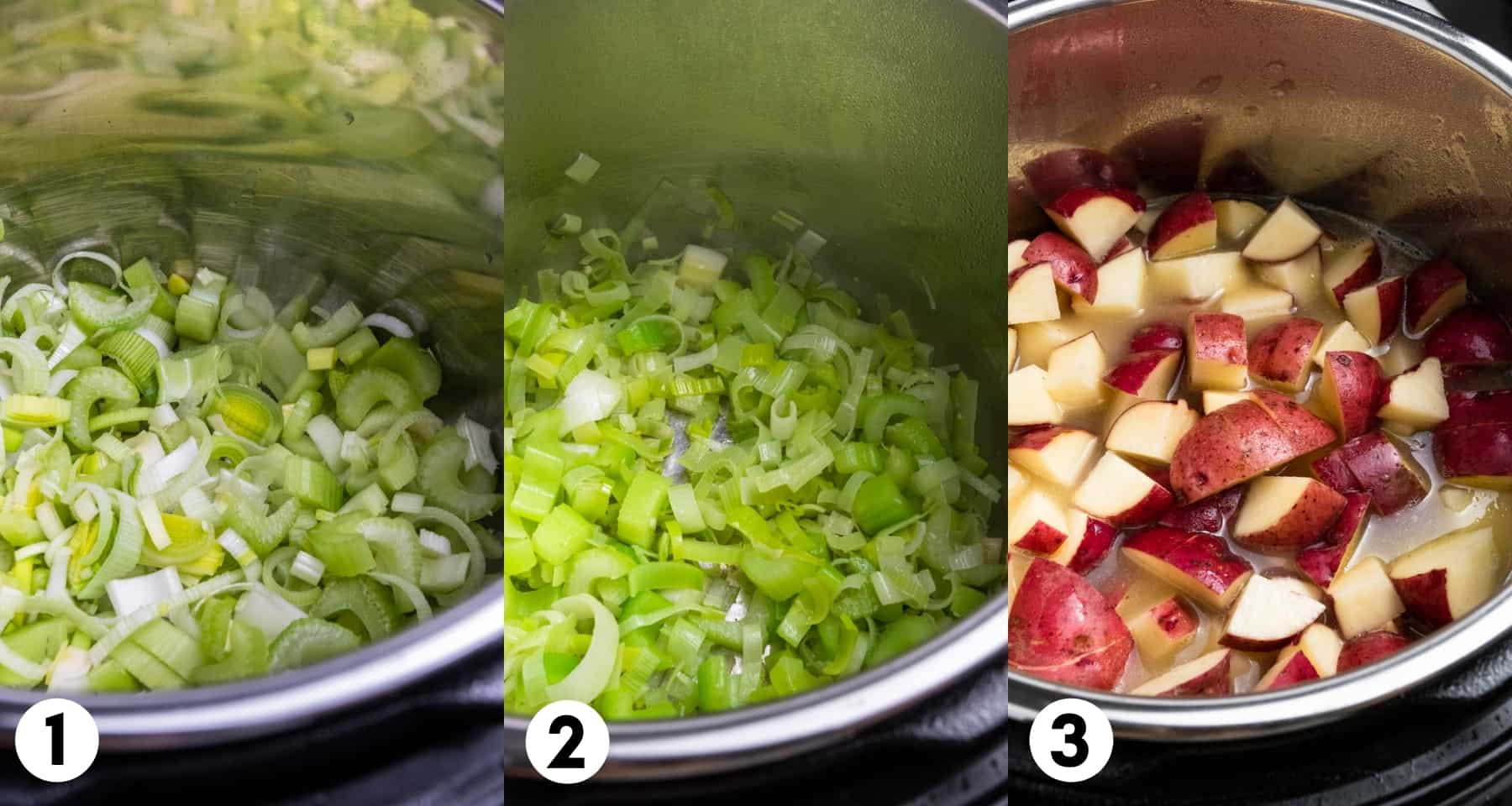 Leeks and celery in Instant Pot and then potatoes and broth added.