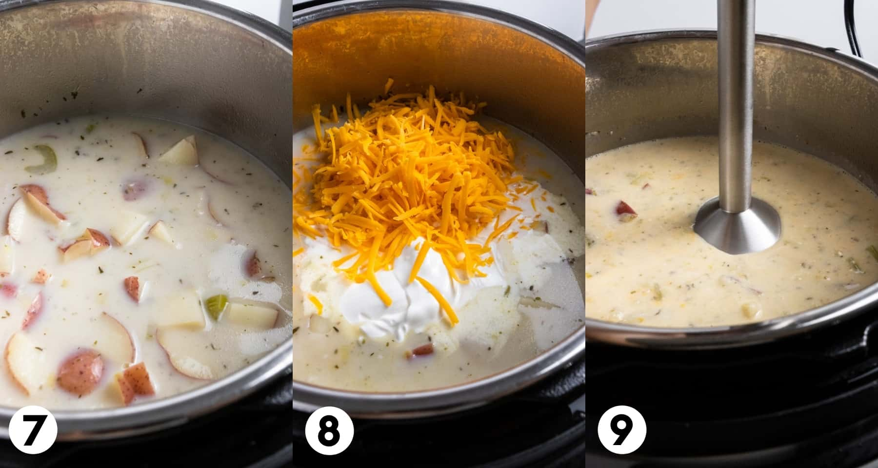 Cream added to soup pan with cheese and other ingredients.