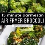 Parmesan air fryer broccoli on white serving plate.