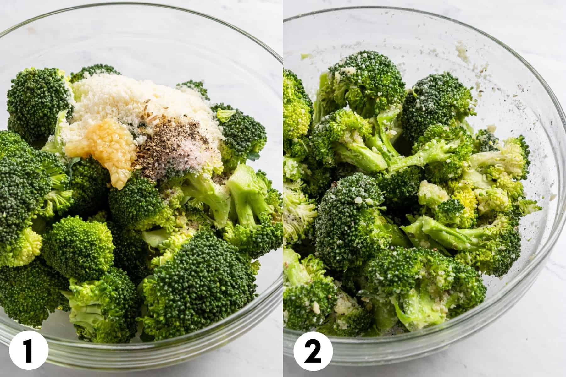 Broccoli, garlic, parmesan and seasonings in mixing bowl.