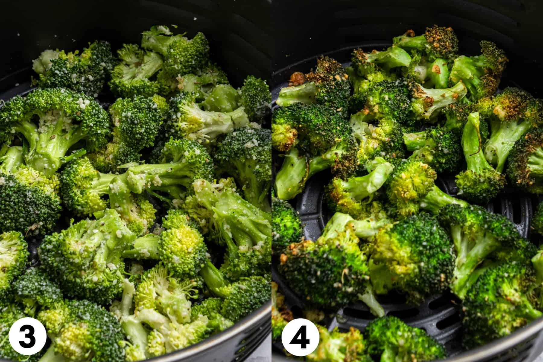 Broccoli in air fryer before cooking and after cooking.