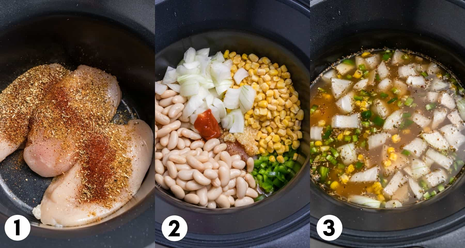 Chicken with seasoning in crock pot plus corn, beans and other ingredients.