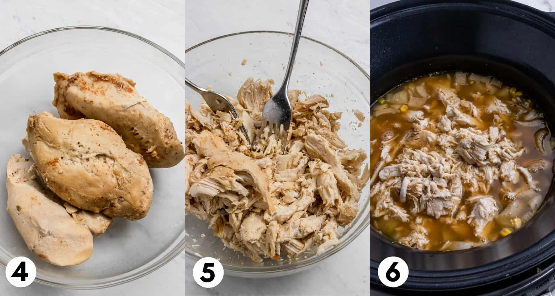Chicken in bowl shredded and then added to crock pot.