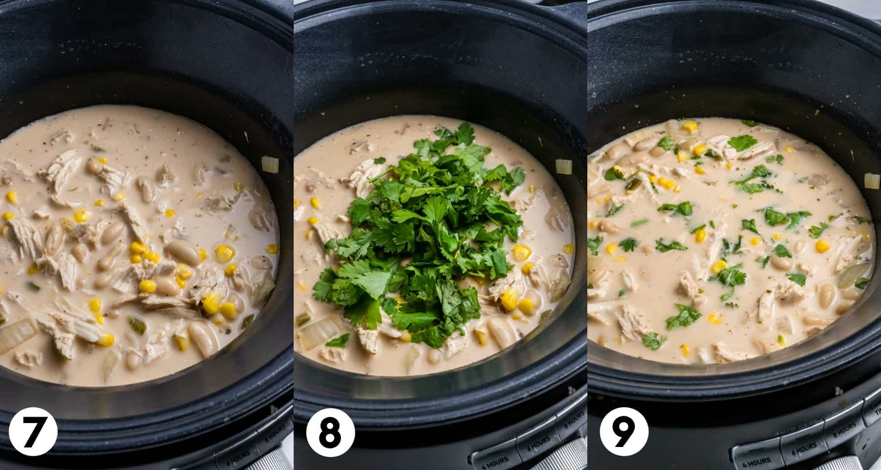 Cream cheese stirred into soup and cilantro added in and stirred.