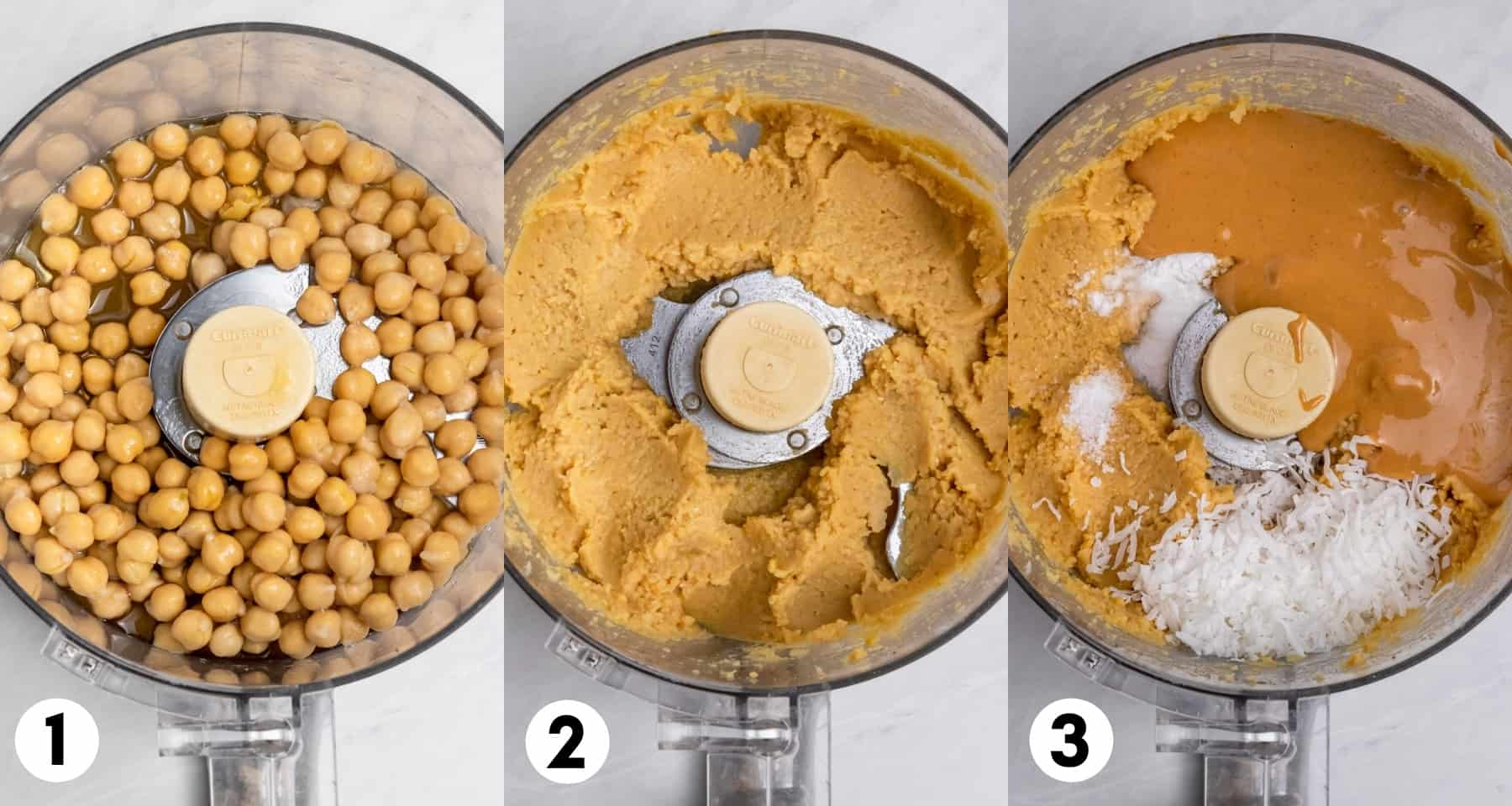 Chickpeas in food processor and then pureed.