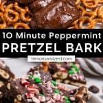 Chocolate poured on to pretzels and peppermint pretzel bark on plate.