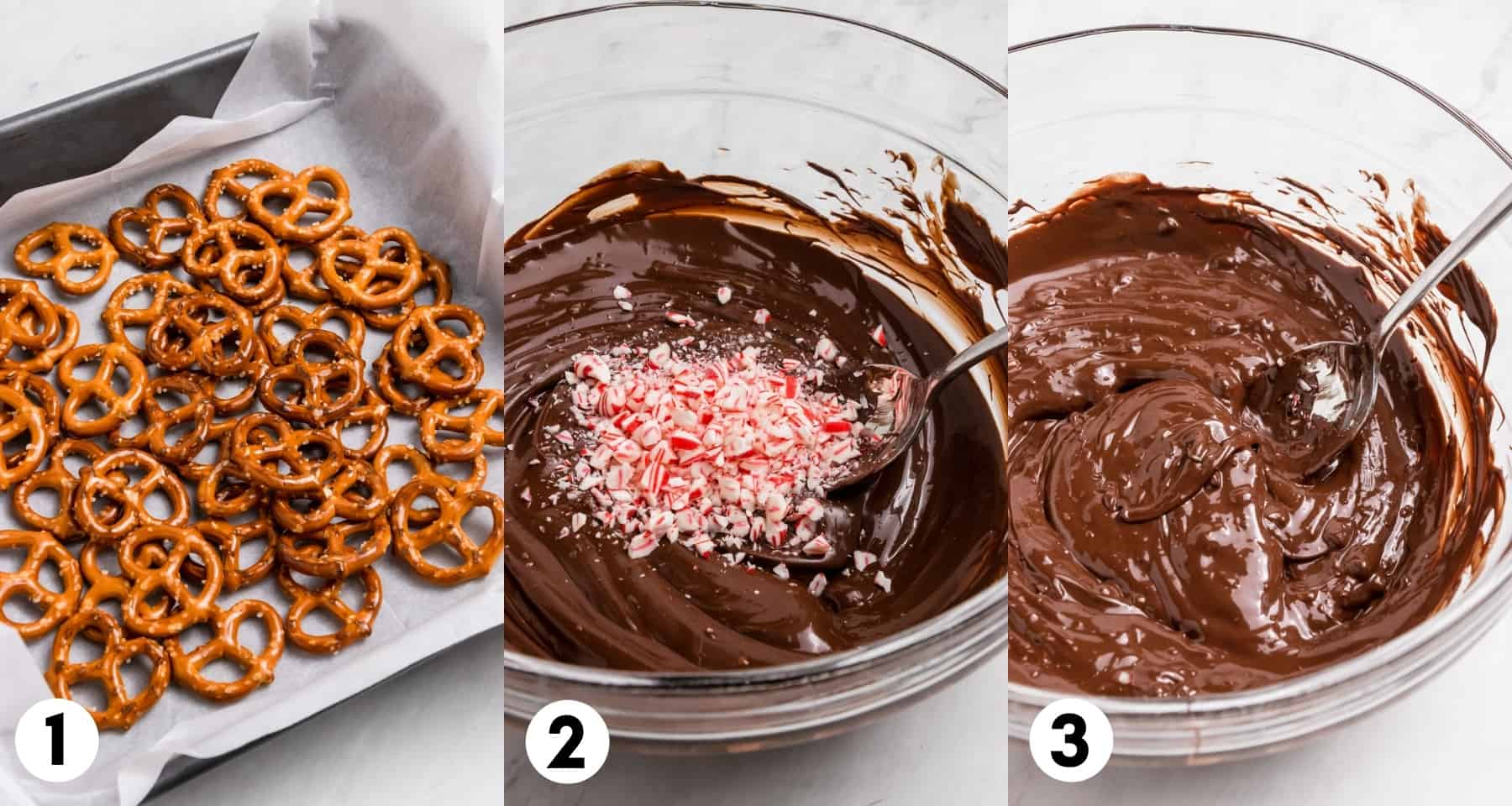 Pretzels on parchment lined pan and mixing bowl with dark chocolate melted with candy canes.