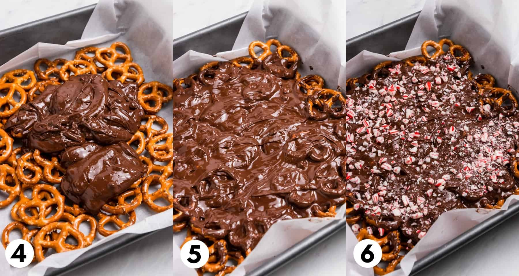 Dark chocolate poured over pretzels and spread over.
