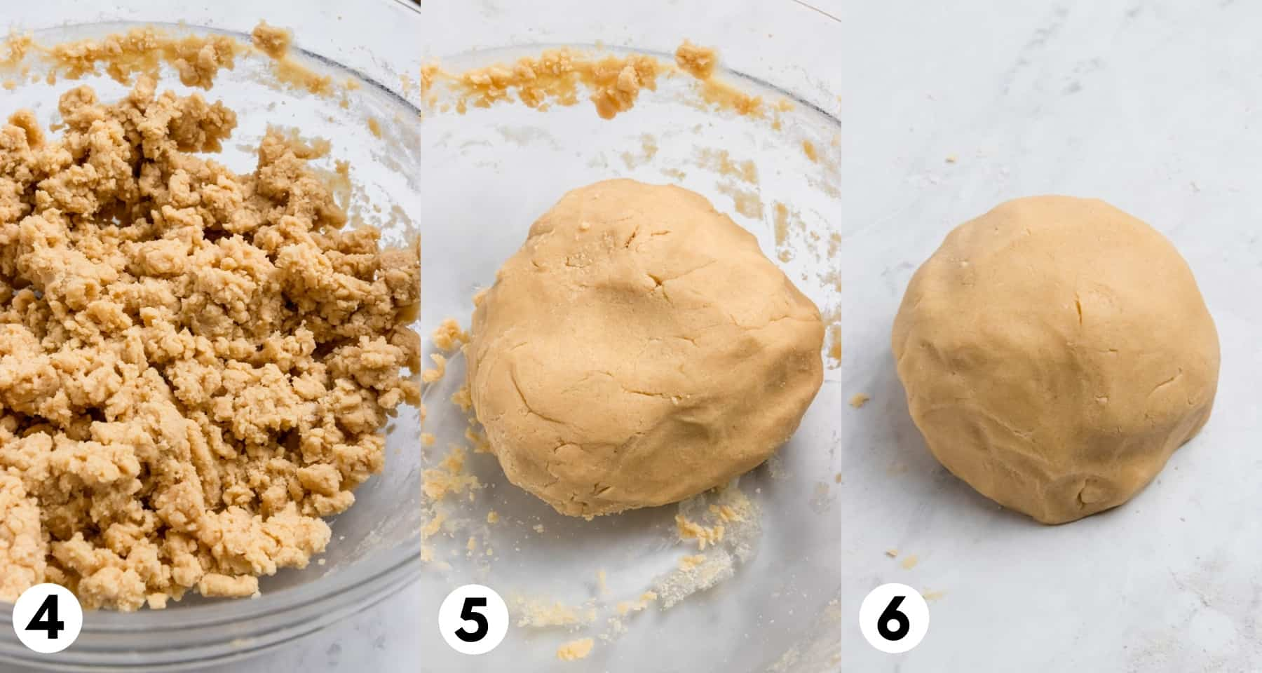 Shortbread cookie dough in bowl and then rolled into ball.