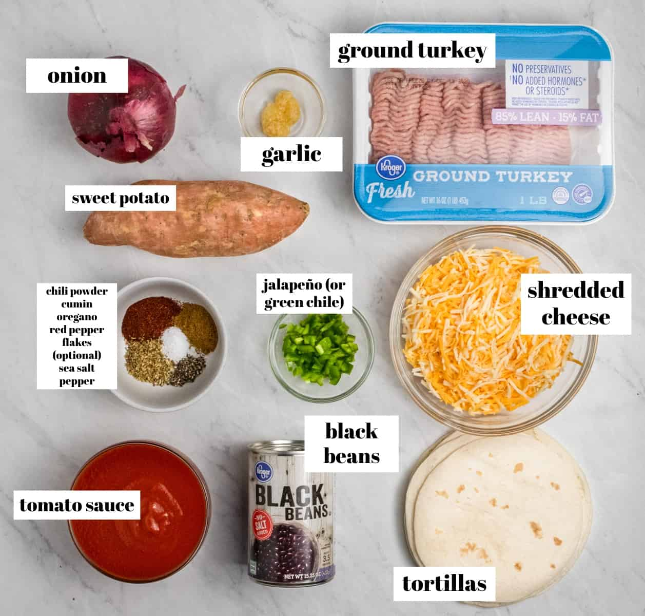 Turkey, beans, cheese, spices and other ingredients on counter.