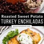 Enchilada ingredients in bowl and cooked turkey enchilada on plate.