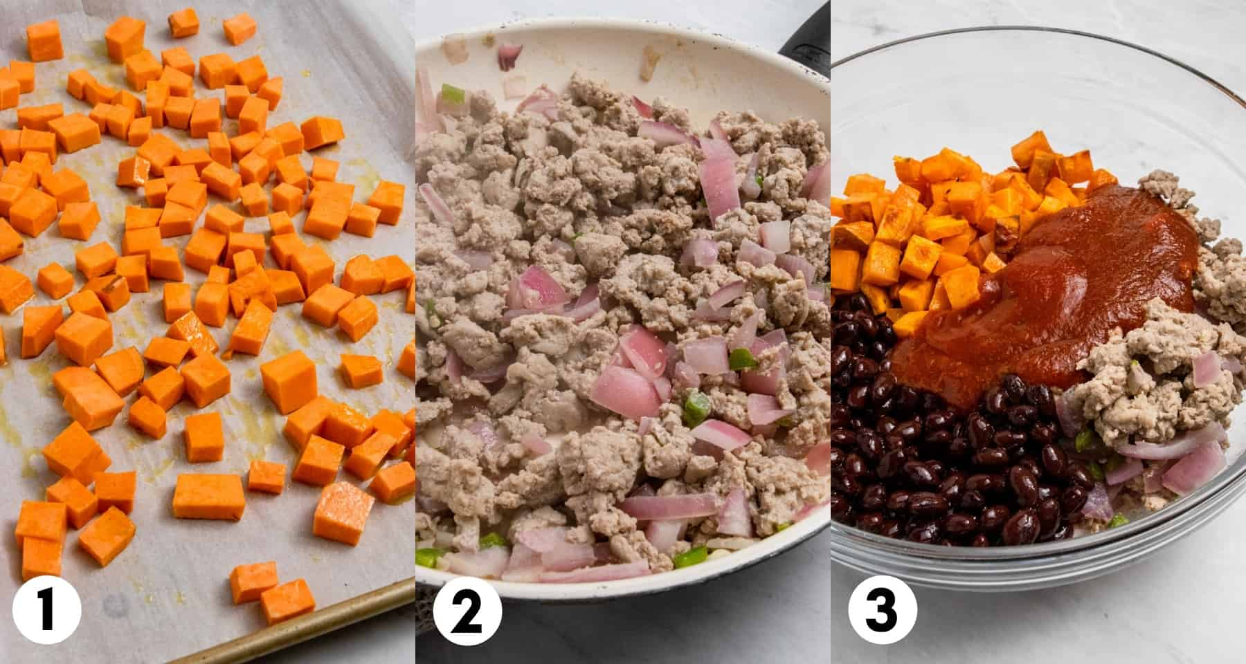 Sweet potatoes on pan, ground turkey in skillet and ingredients to be mixed in mixing bowl.