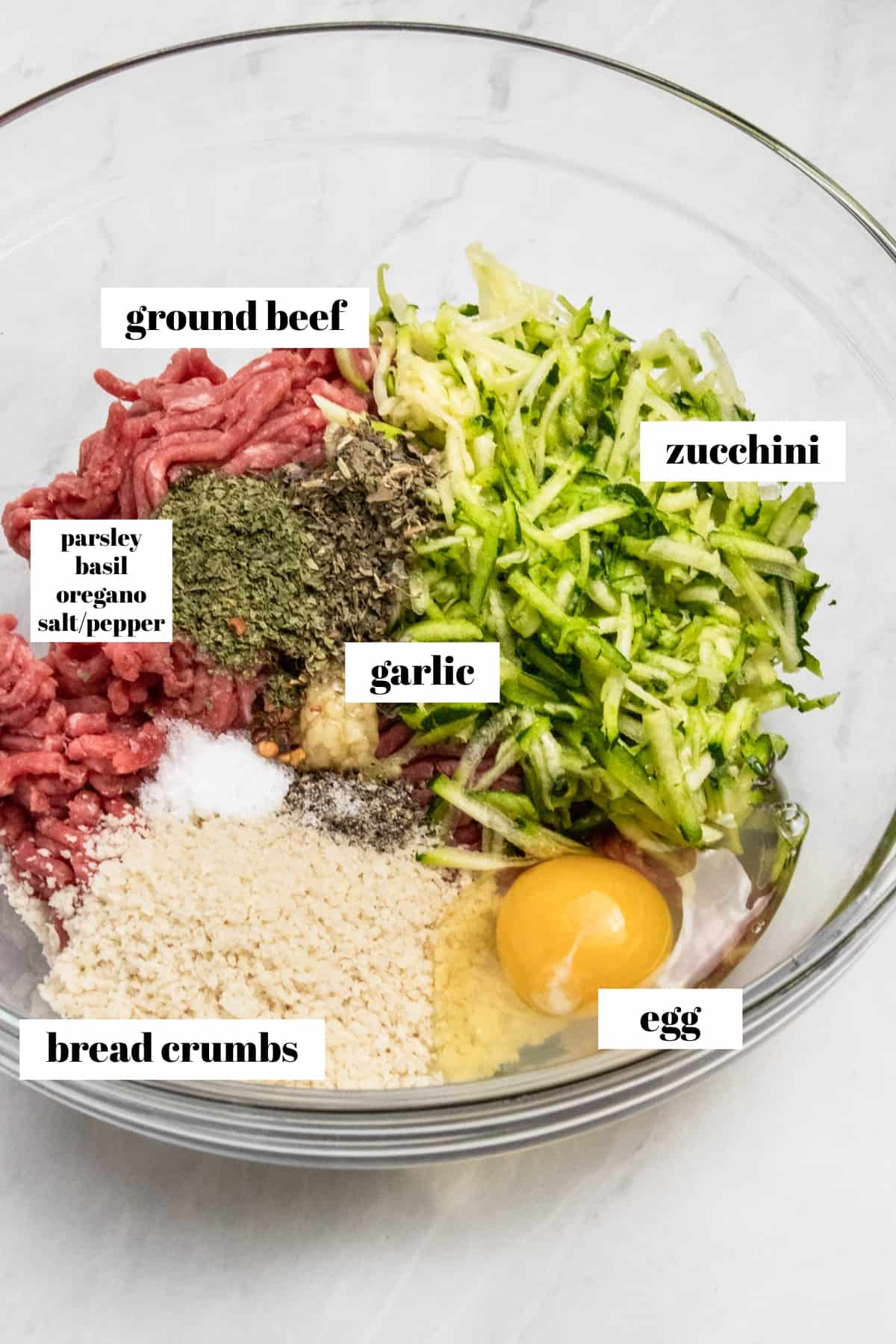Zucchini, ground beef, breadcrumbs, egg and seasonings in bowl.