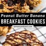 Peanut Butter Banana Oatmeal Cookies ingredients in bowl and then baked on cooling rack.