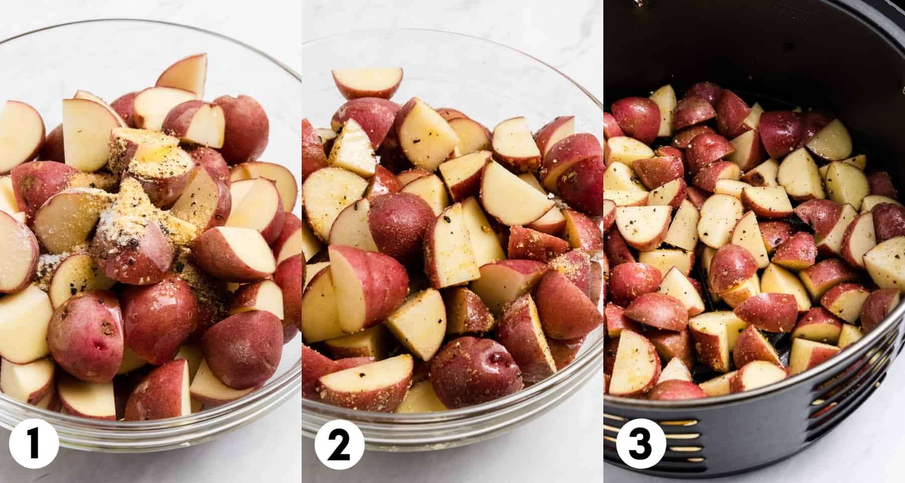 Diced potatoes in bowl and in air fryer.