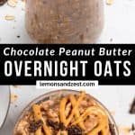 Chocolate overnight oats with peanut butter drizzle.