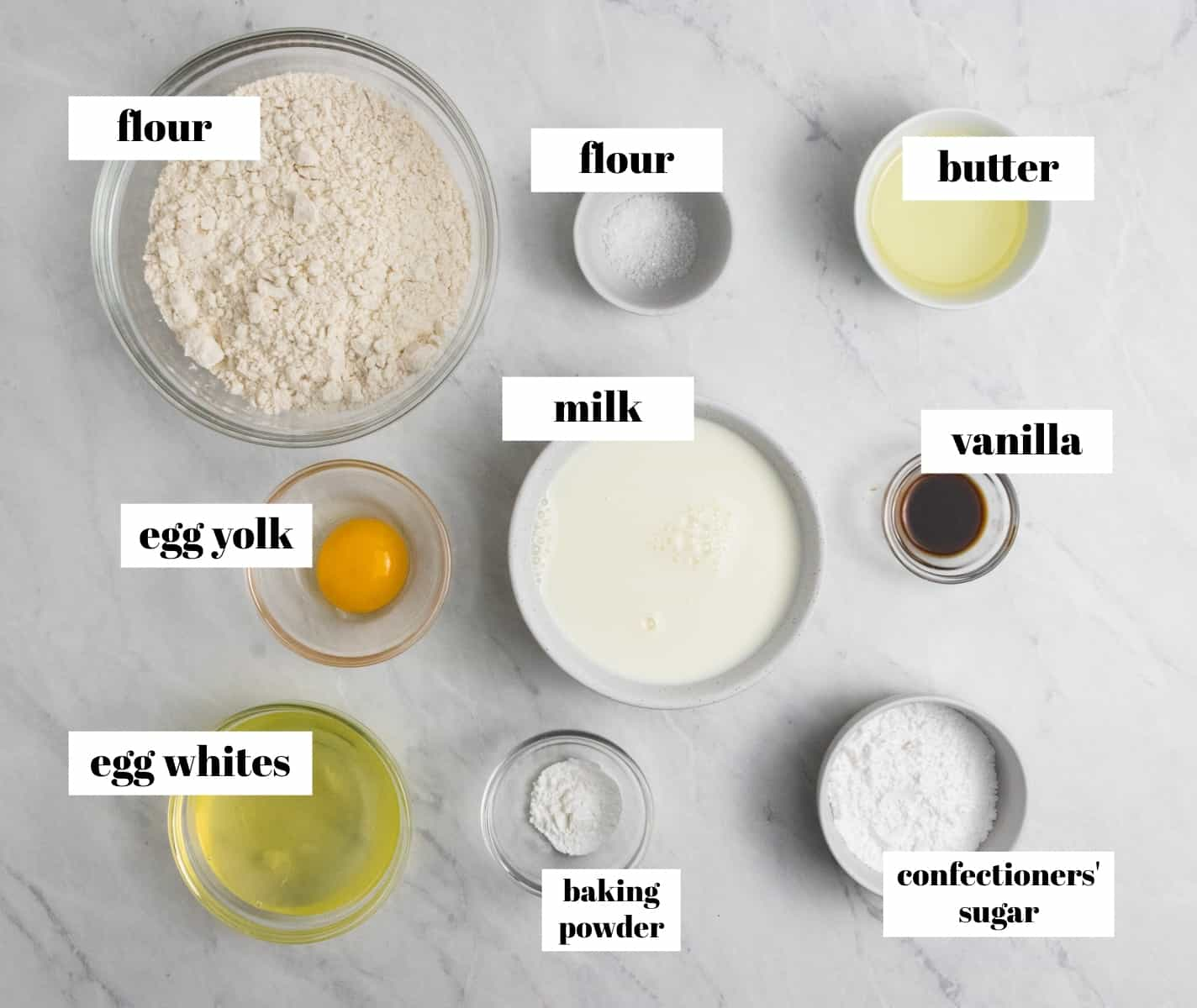 Flour, butter, eggs, vanilla and ingredients labeled.