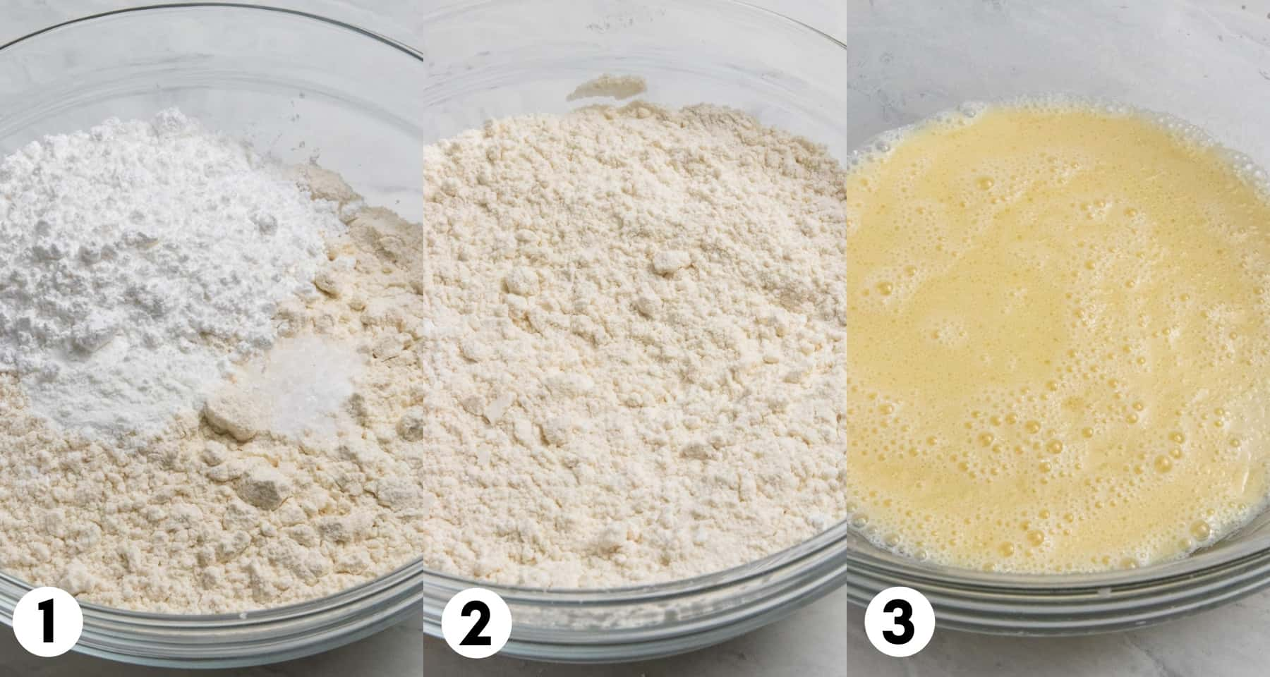 Flour, sugar and salt in bowl and egg mixture in another bowl.
