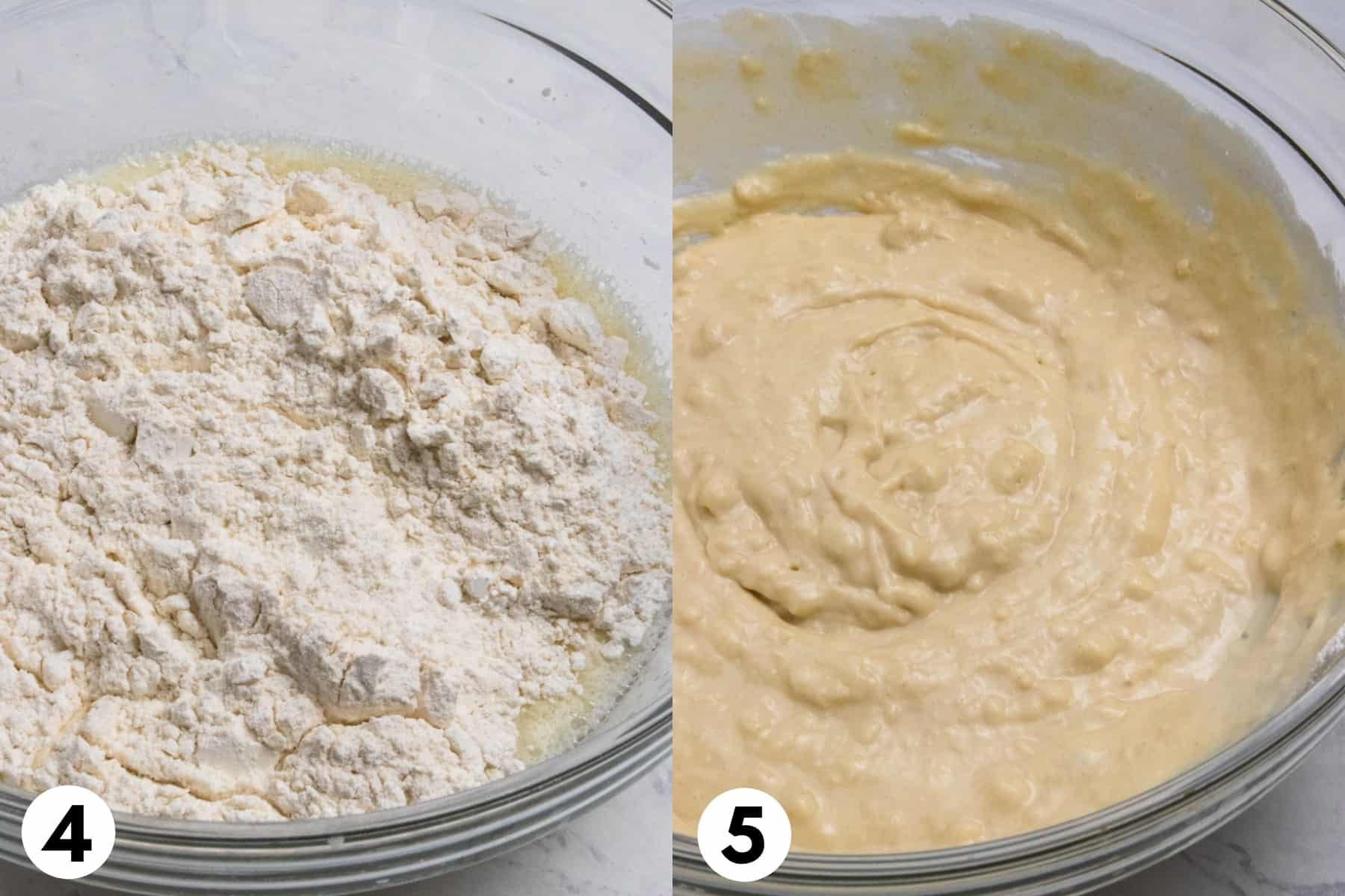Flour mixture stirred in bowl with egg mixture.