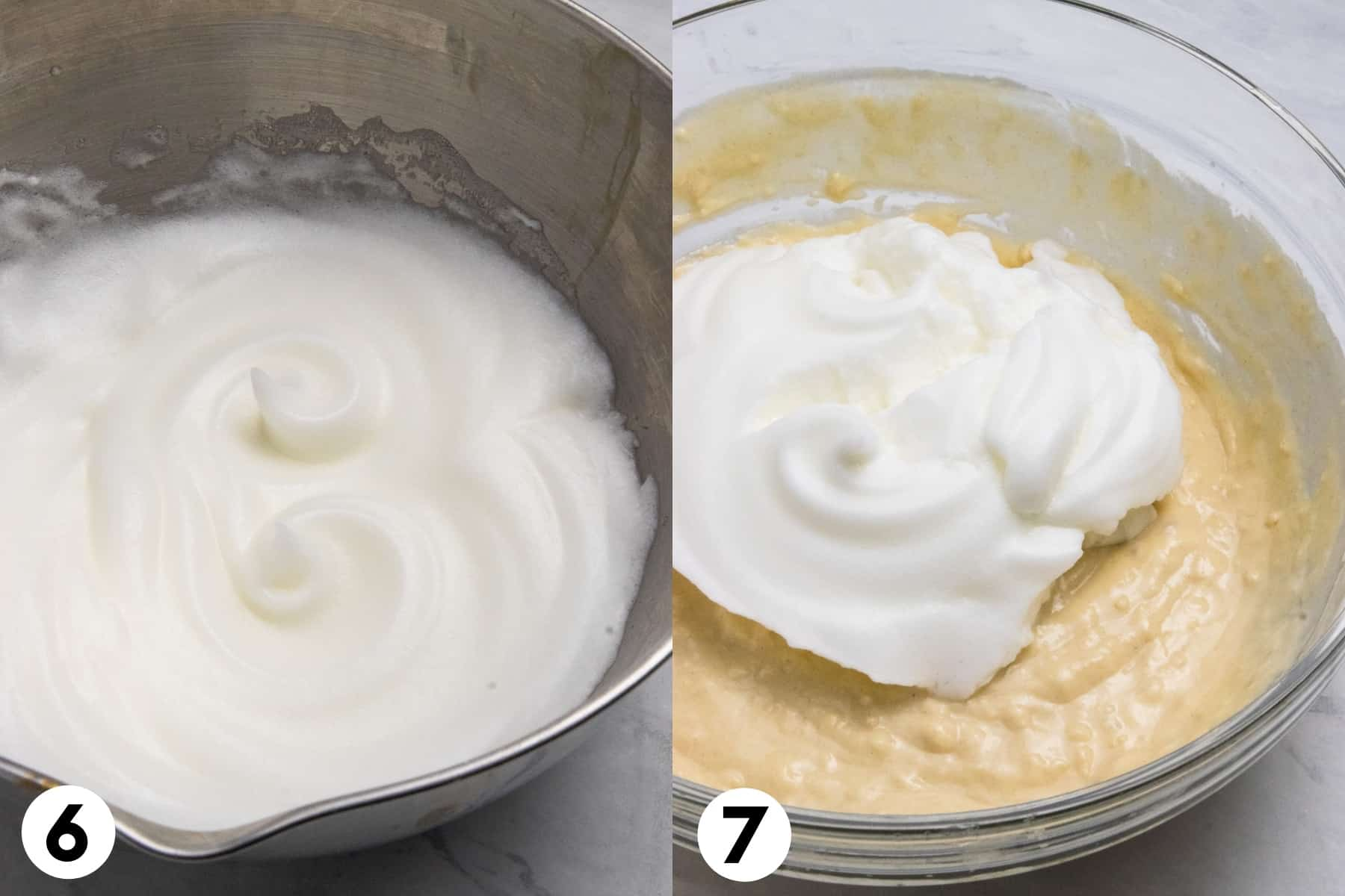 Egg whites whipped to stiff peaks and added to pancake batter.