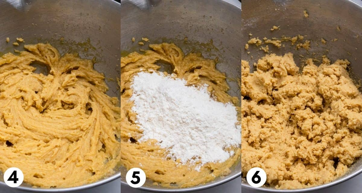Mixing bowl with dough and flour added in.