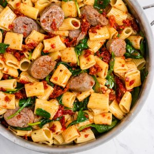 Skillet with pasta, Italian Sausage and sun dried tomatoes.