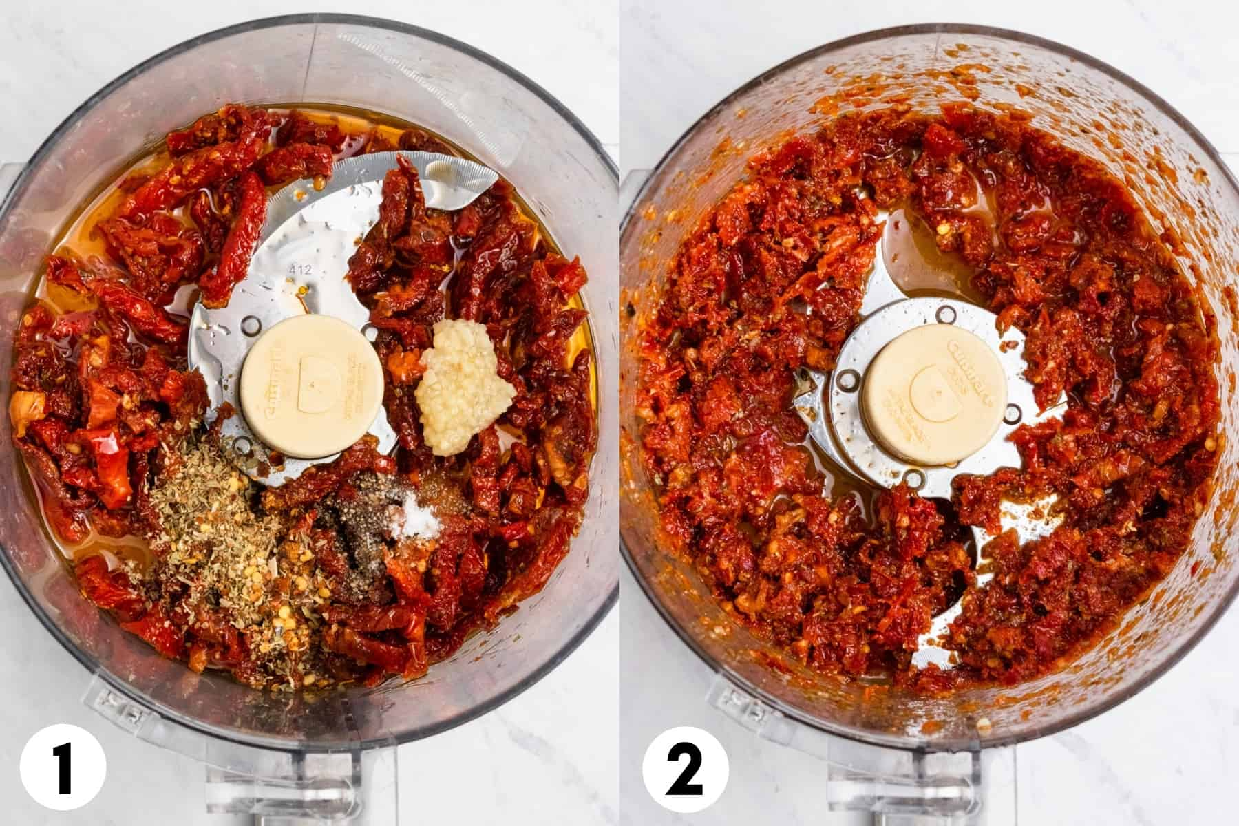 Sun dried tomatoes, spices and olive oil in food processor.