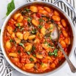 Pot of tomato basil gnocchi.