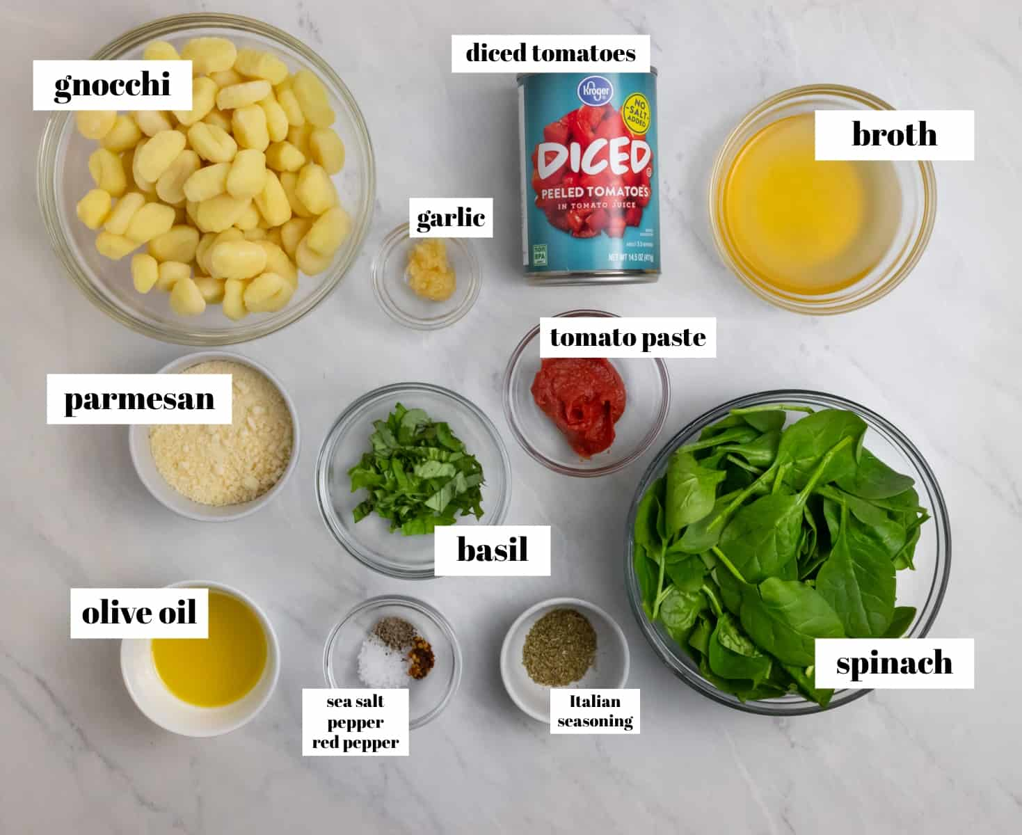 Spinach, broth, parmesan and ingredients labeled on counter.