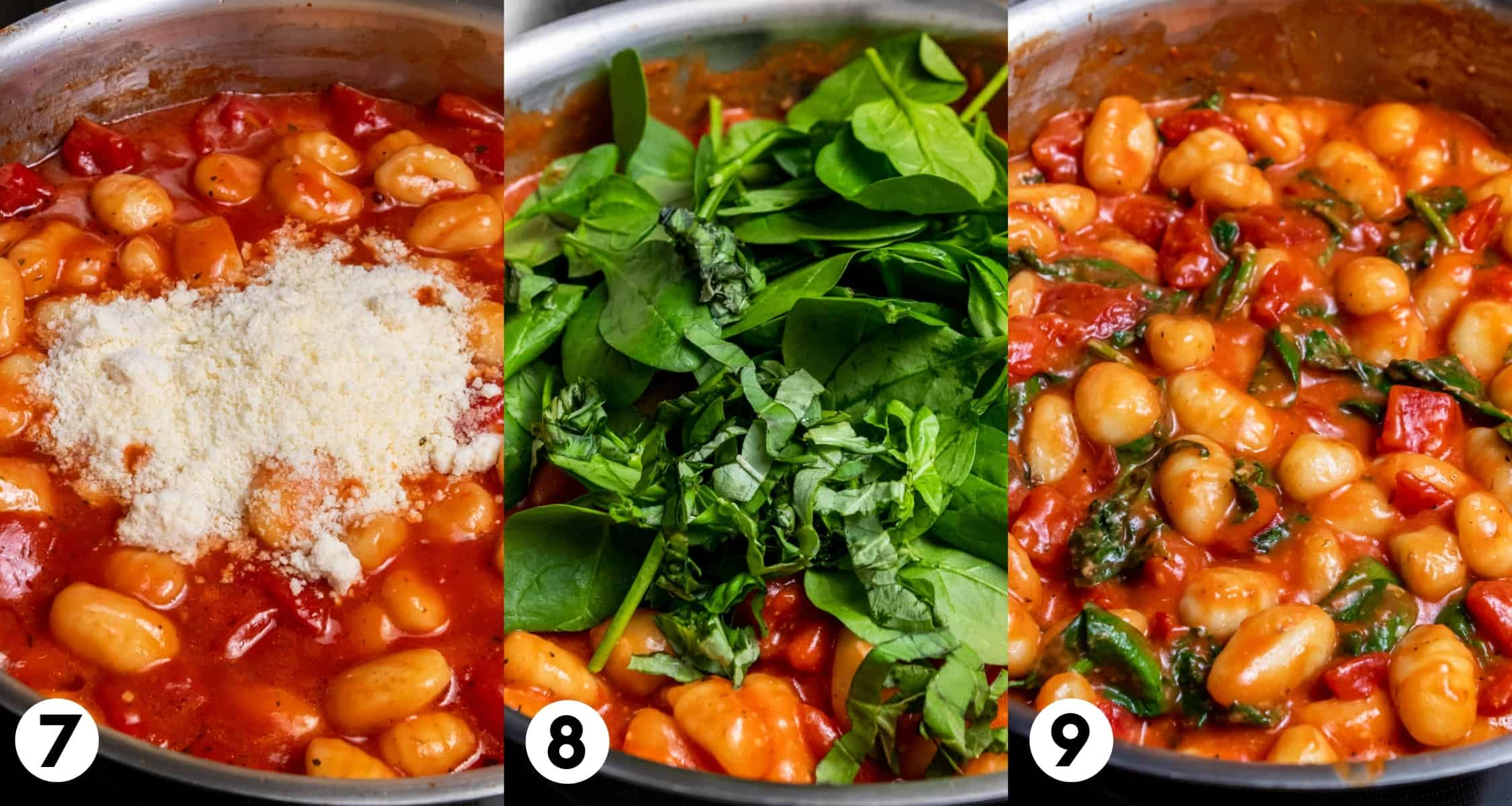Parmesan and spinach added to the skillet of gnocchi.
