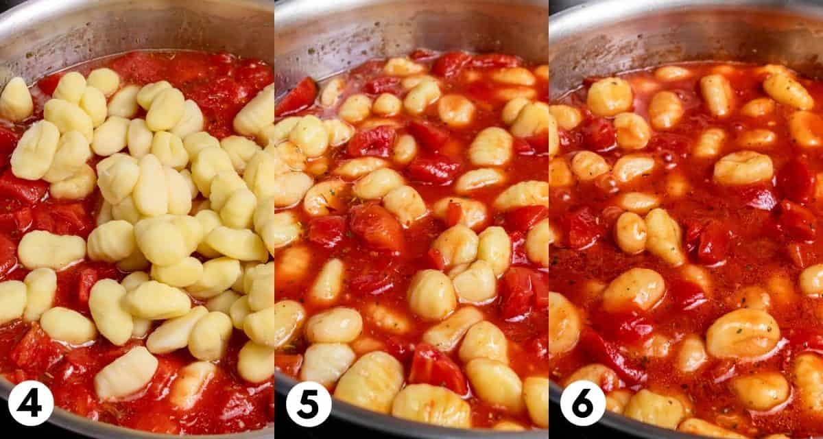 Gnocchi in tomatoes.